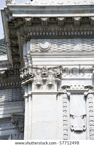 Decorated  Corinthian column details of a historic building - stock photo