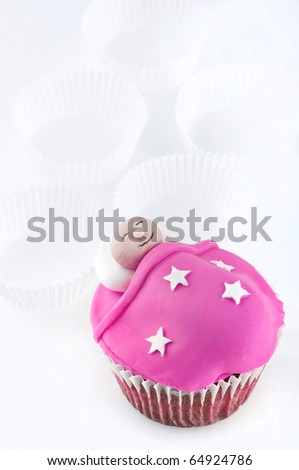Decorated cup cake - stock photo