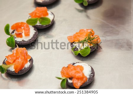 decorated delicious dish by a chef, ready to be served - stock photo