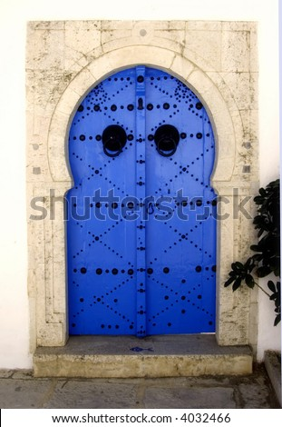 Decorated door in the village of Sidi Bou Said, Tunisia - stock photo