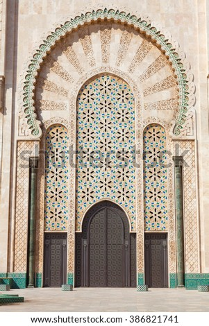 Decorated door of Hassan II mosque in Casablanca, Morocco
