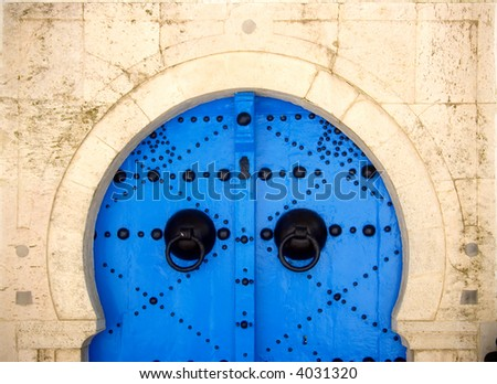 Decorated doors in the village of Sidi Bou Said, Tunisia.