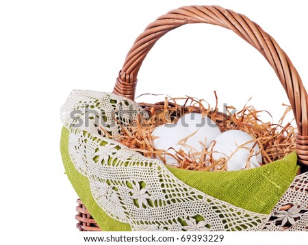 Decorated Easter basket with eggs - stock photo