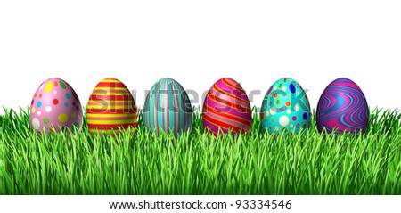 Decorated Easter Egg hunt with painted easter eggs in a row sitting on green grass on a white background as a symbol of spring and a holiday decoration and design element of the renewal season. - stock photo