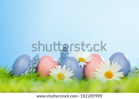 Decorated easter eggs and flowers in spring grass
