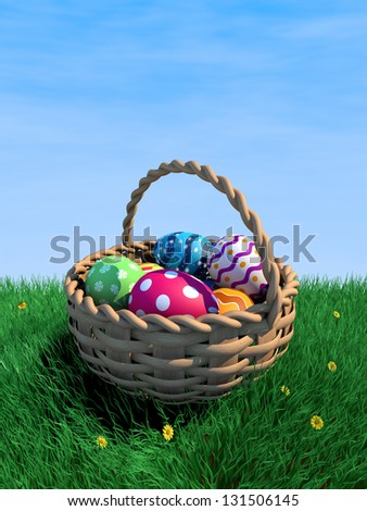 Decorated easter eggs in a basket with copy space (3D render) - stock photo