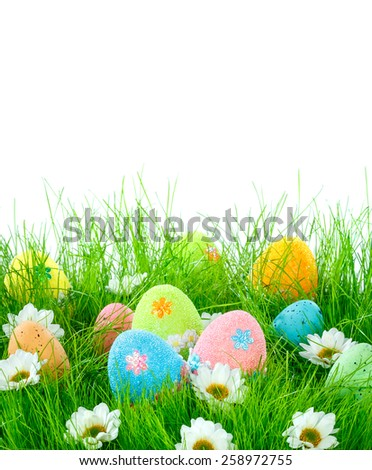 Decorated easter eggs in the grass on a white background - stock photo