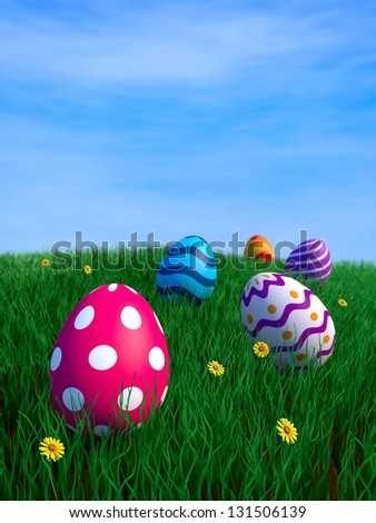 Decorated easter eggs on green grass with copy space (3D render)