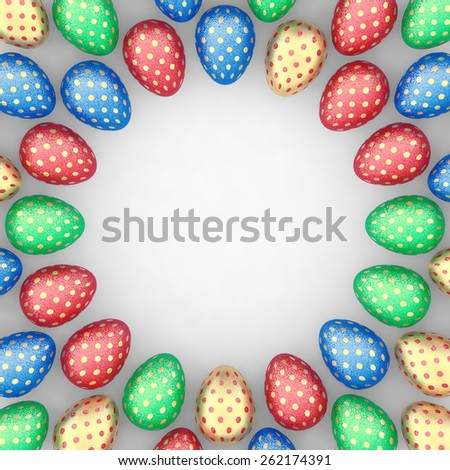 Decorated easter eggs on white background positioned as a frame , copyspace - stock photo
