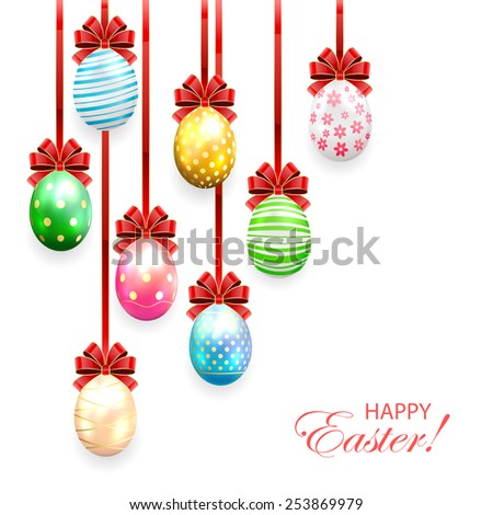 Decorated Easter eggs with bow on white background, illustration. - stock photo