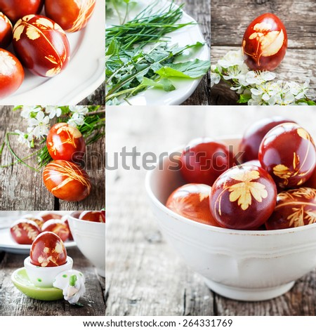 Decorated Easter Eggs with Natural Fresh Leaves and Boiled in Onions Peels - stock photo