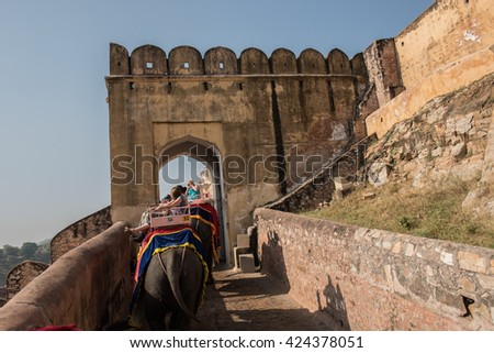 Decorated Elephants in Amber Fort - stock photo