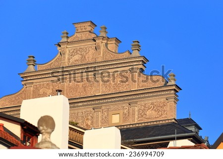 Decorated facade on the streets of Lesser Town, Prague, Czech Republic - stock photo