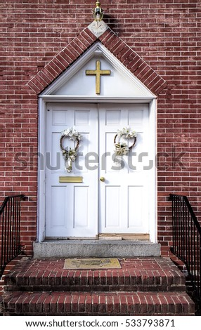 Decorated Christmas Holidays Door Entries Old Stock Photo Edit Now