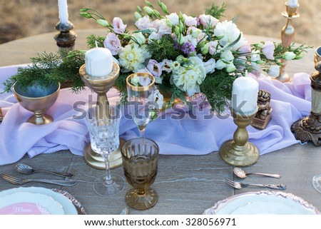 decorated for wedding elegant dinner table outdoors - stock photo