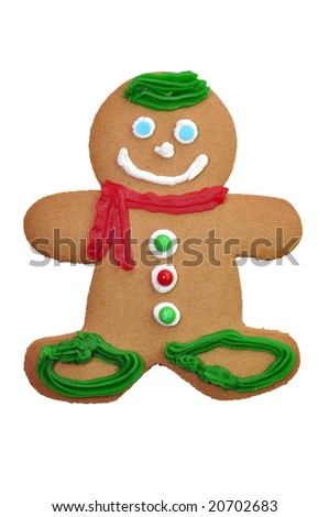 Decorated gingerbread cookie isolated on white background with clipping path.