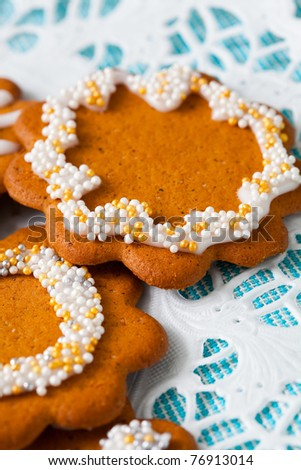 Decorated gingerbread cookies for Christmas. Studio shot.