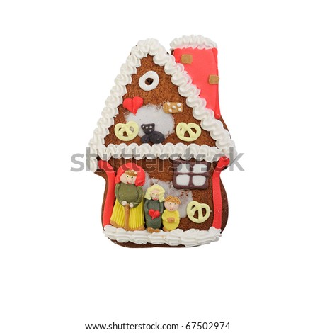 Decorated gingerbread cookies - house - stock photo