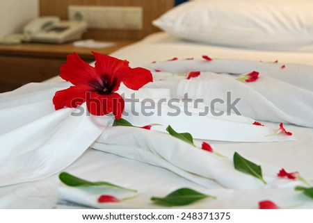 Decorated Hotel Bed.Honeymoon bed decorated with red petals and towels.  Romantic Flower Petal Arrangement on a Hotel Bed.  - stock photo