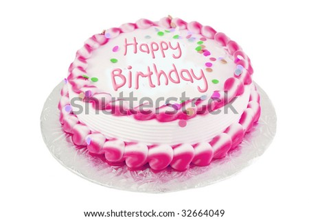 Decorated pink frosted happy birthday cake - stock photo