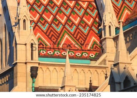 Decorated roof of St Matthias catholic church in Budapest, Hungary - stock photo