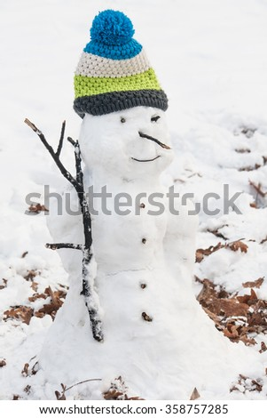 Decorated snowman - stock photo