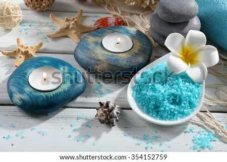 Decorated spa set on wooden background - stock photo