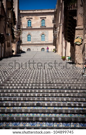 Decorated steps at Caltagirone, province of Catania, Sicily, Italy