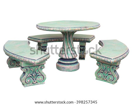 Decorated stone garden furniture table and chairs isolated over white background - stock photo