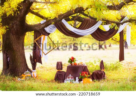 Decorated table for a romantic dinner under the oak in autumn Park. - stock photo