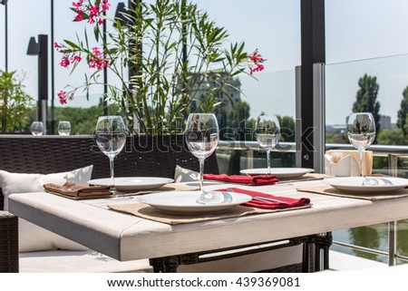 decorated table in the open air in the summer