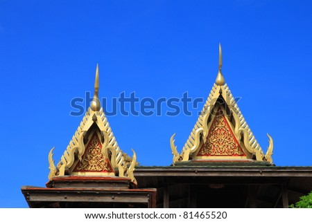 decorated temple gable, Thailand - stock photo