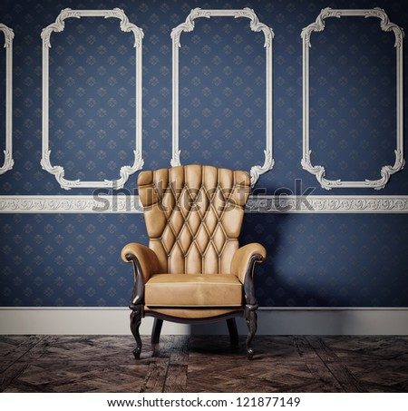 decorated wall with vintage armchair - stock photo