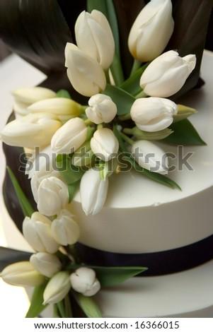 Decorated Wedding cake. - stock photo