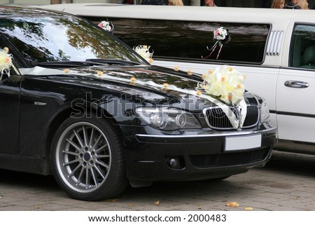 Decorated wedding cars on a wedding day - stock photo