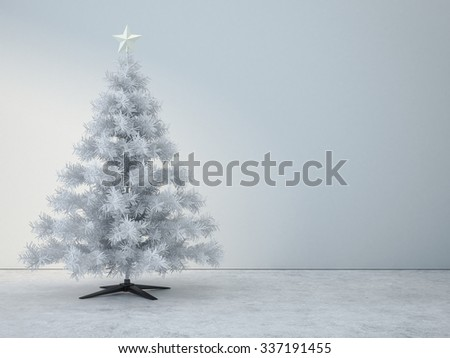 Decorated white christmas tree in white room - stock photo