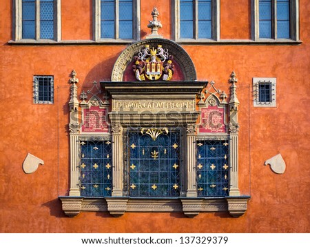 Decorated window at Prague Old Town Hall - stock photo