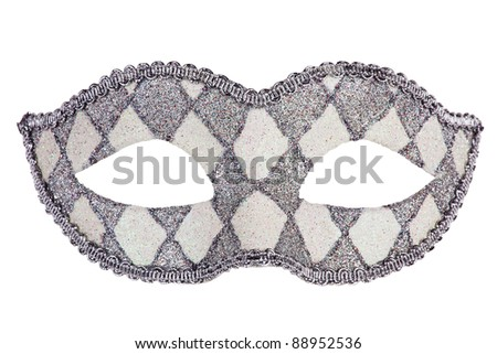 Decorated with mother of pearl original carnival mask on white background - stock photo