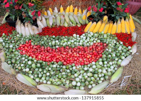 Decorating pile of tropical fruits and vegetables, eggplants, corns, tomatoes and chili laying on the ground