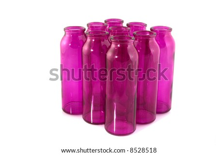 decorating pink bottles as a group