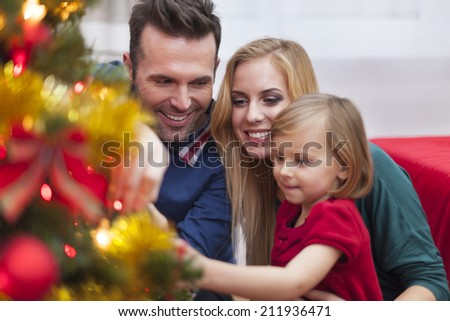Decorating tree is my favourite Christmas traditions - stock photo