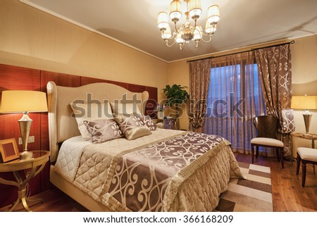 decoration and furniture in luxury bedroom - stock photo