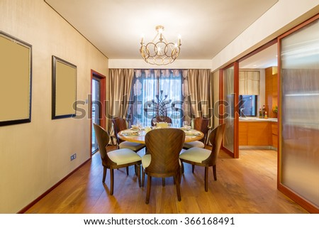 decoration and furniture in luxury dining room