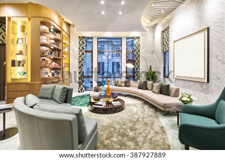 decoration and furniture in moder n living room - stock photo