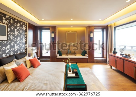 decoration and furniture in modern bedroom  - stock photo
