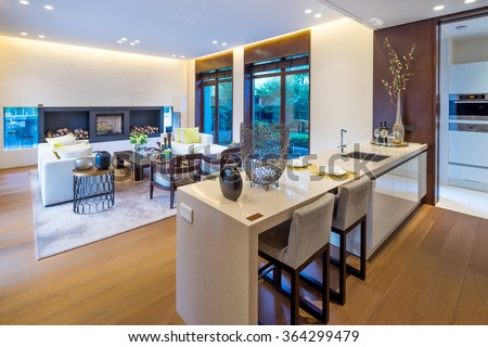 decoration and furniture in modern dining room - stock photo
