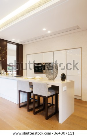decoration and furniture in modern dining room