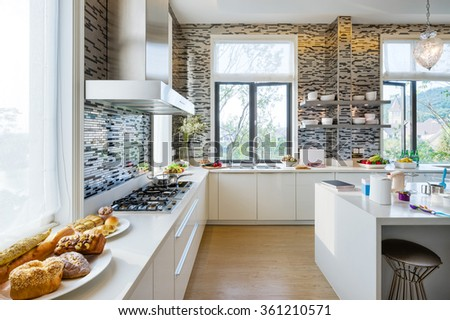 decoration and furniture in modern kitchen - stock photo