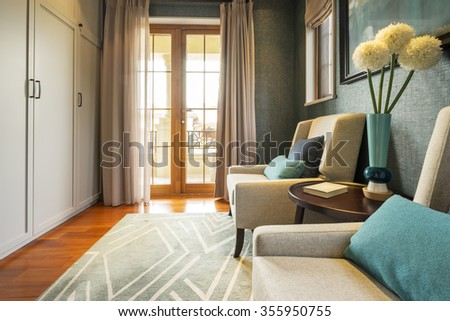 decoration and furniture of living room with comfortable sofa - stock photo