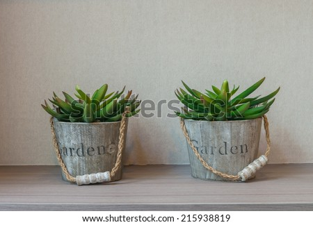 decoration artificial tree in pot for home decoration - stock photo